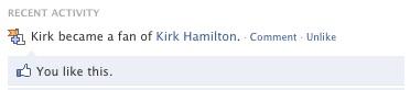 Kirk Likes That He is a Fan of Kirk