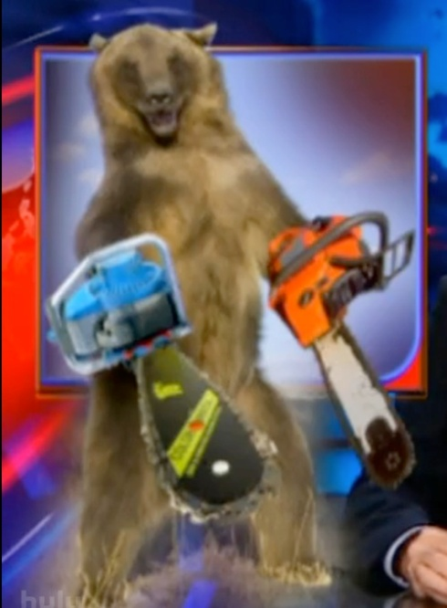 Daily Show Democratic Supermajority Bear With Chainsaws Instead of Paws